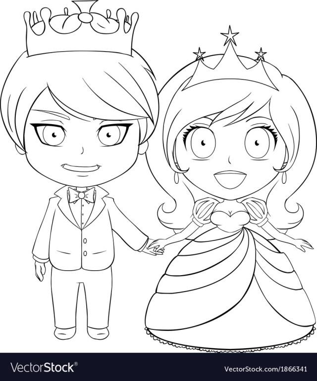 Princess Coloring Page Prince And Princess Coloring Page 1 Royalty Free Vector