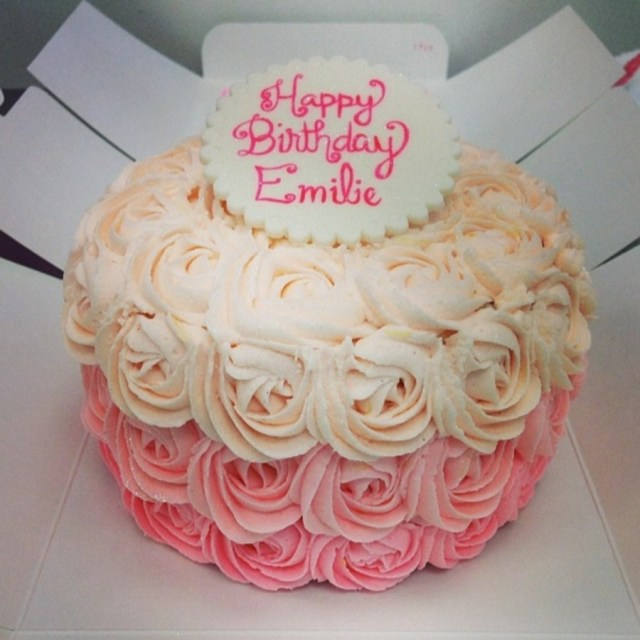 Rose Birthday Cake An Ombre Rose Birthday Cake With A Fondant Topper Cakecentral