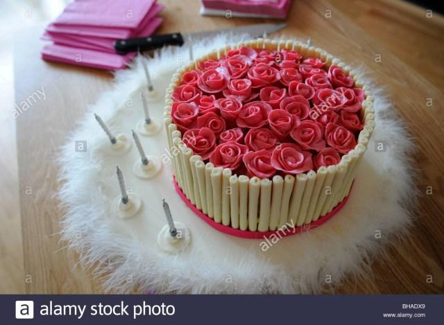 Rose Birthday Cake Pink And Cream Chocolate Birthday Cake Covered In Handmade Sugar