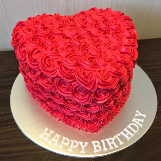 Rose Birthday Cake Rose Swirls Heart Birthday Cake Crissas Cake Corner