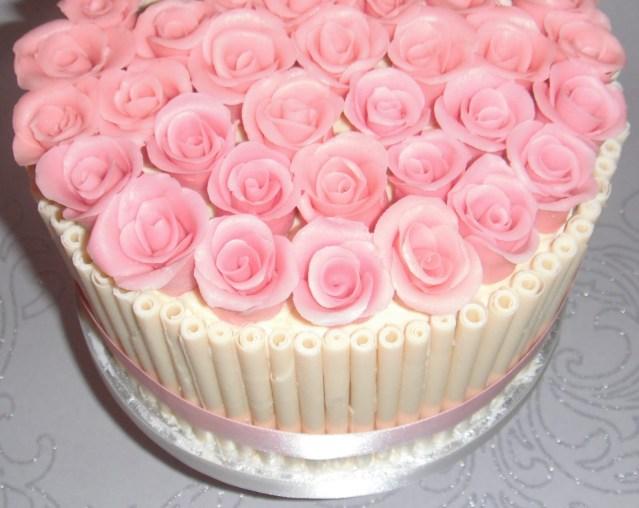 Rose Birthday Cake White Chocolate And Pink Roses Birthday Cake