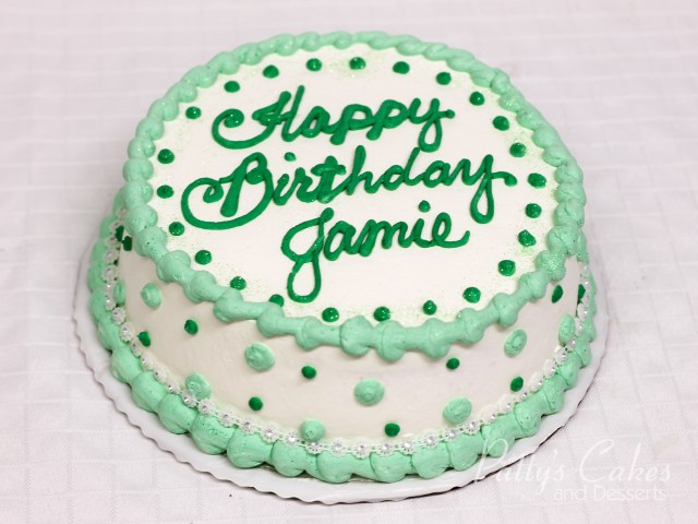 Round Birthday Cakes Photo Of A Birthday Cake White Green Round Pattys Cakes And Desserts