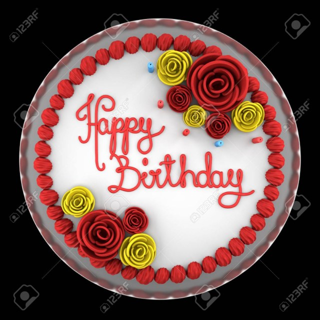Round Birthday Cakes Top View Of Round Birthday Cake With Candles On Dish Isolated