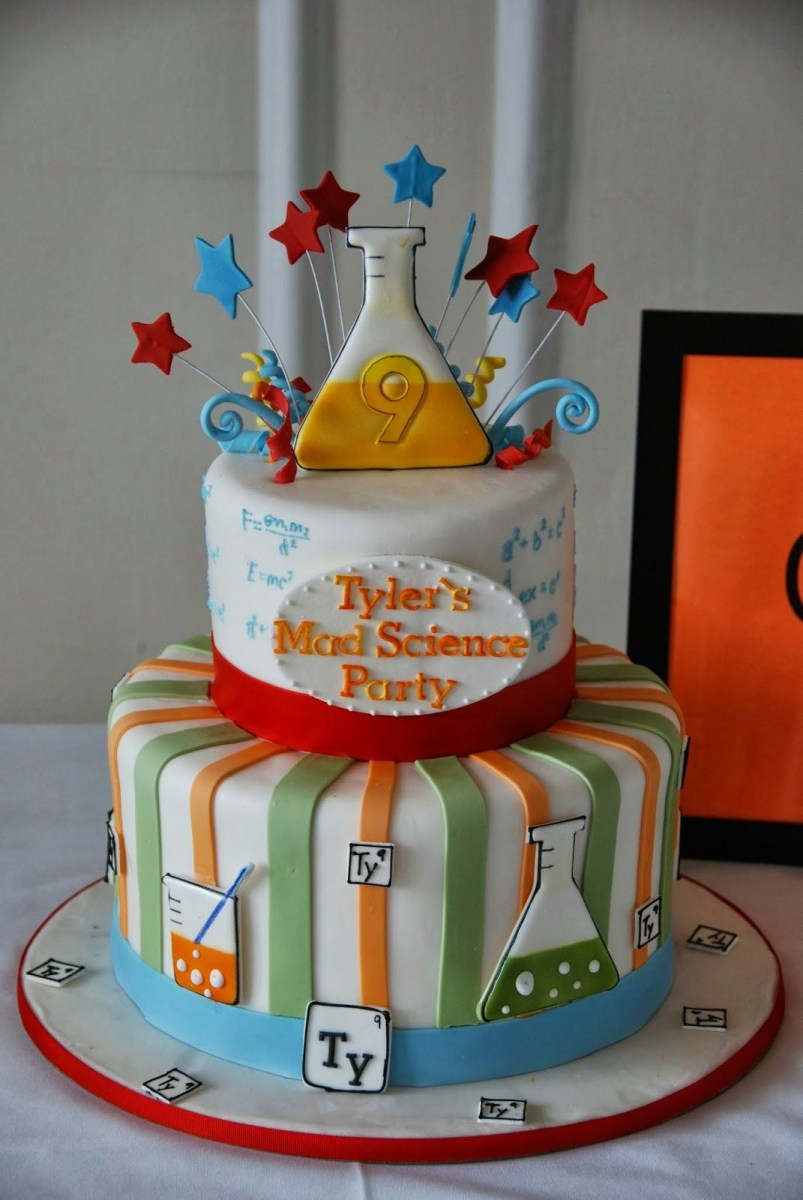 Science Birthday Cake A Mad Science Birthday Party Parties In 2018 Pinterest