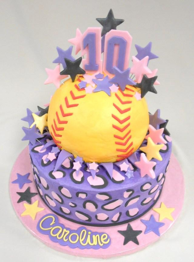 Softball Birthday Cakes Custom Softball Cake With Fondant Detailing Happy 10th Birthday