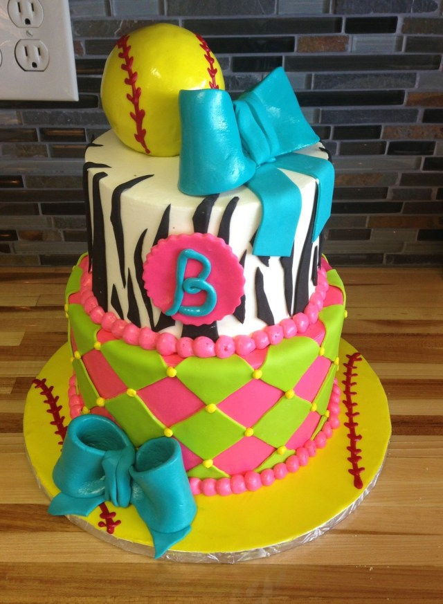 Softball Birthday Cakes Softball Girly Birthday Cake Kids Birthday Cakes Pinterest