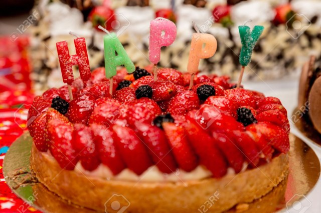 Strawberry Birthday Cakes Beautifully Decorated Strawberry Birthday Cake With Candles Stock