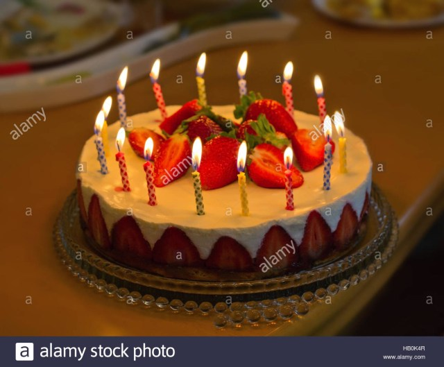 Strawberry Birthday Cakes Strawberry Birthday Cake With Candles Stock Photo 127248823 Alamy