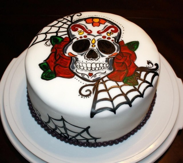 Sugar Skull Birthday Cake You Have To See Hand Painted Sugar Skull On Craftsy Looking For