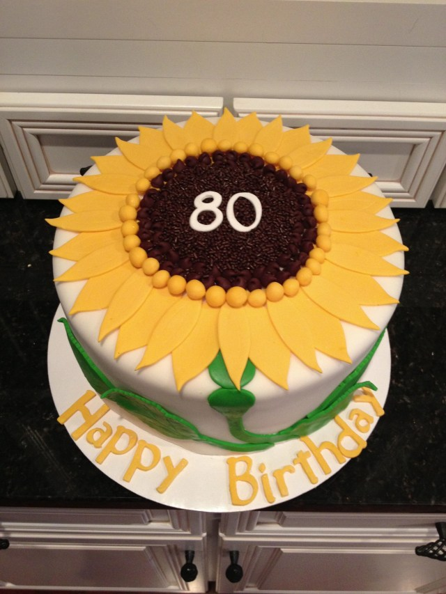 Sunflower Birthday Cake Sunflower Birthday Cake For 80 Year Old Birthday Party Cakes In