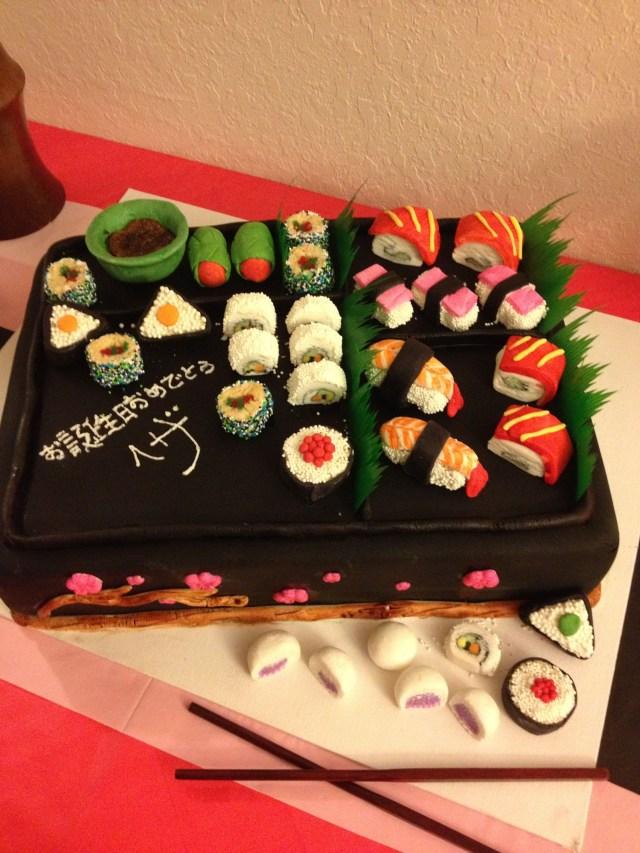 Sushi Birthday Cake Birthday Cake With Fake Sushi Made Out Of Marshmallow Fondant Candy