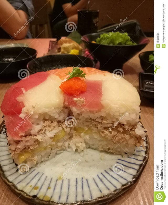Sushi Birthday Cake Sushi Birthday Cake Stock Photo Image Of Inside Birthday 96604060