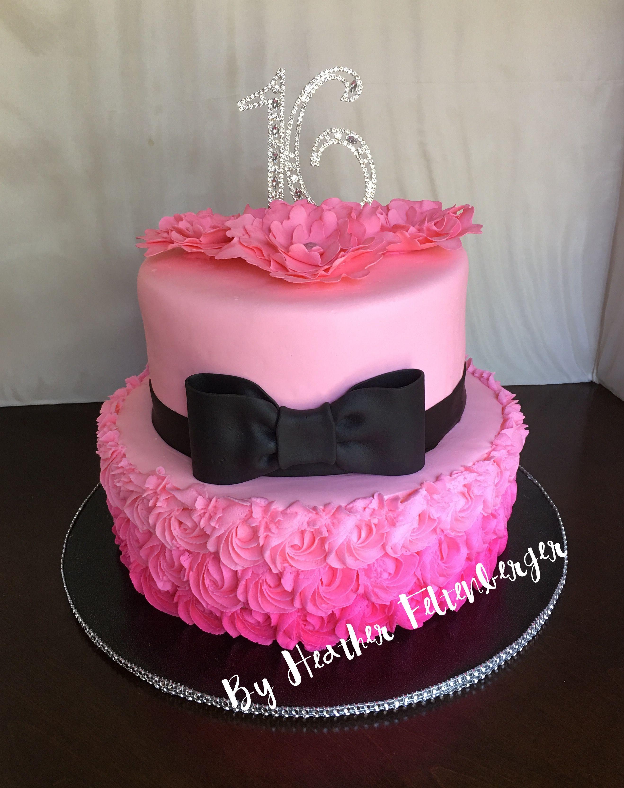 Sweet 16 Birthday Cake Pink Black Bling 2 Tier Sweet 16 Birthday Cake My Cakes