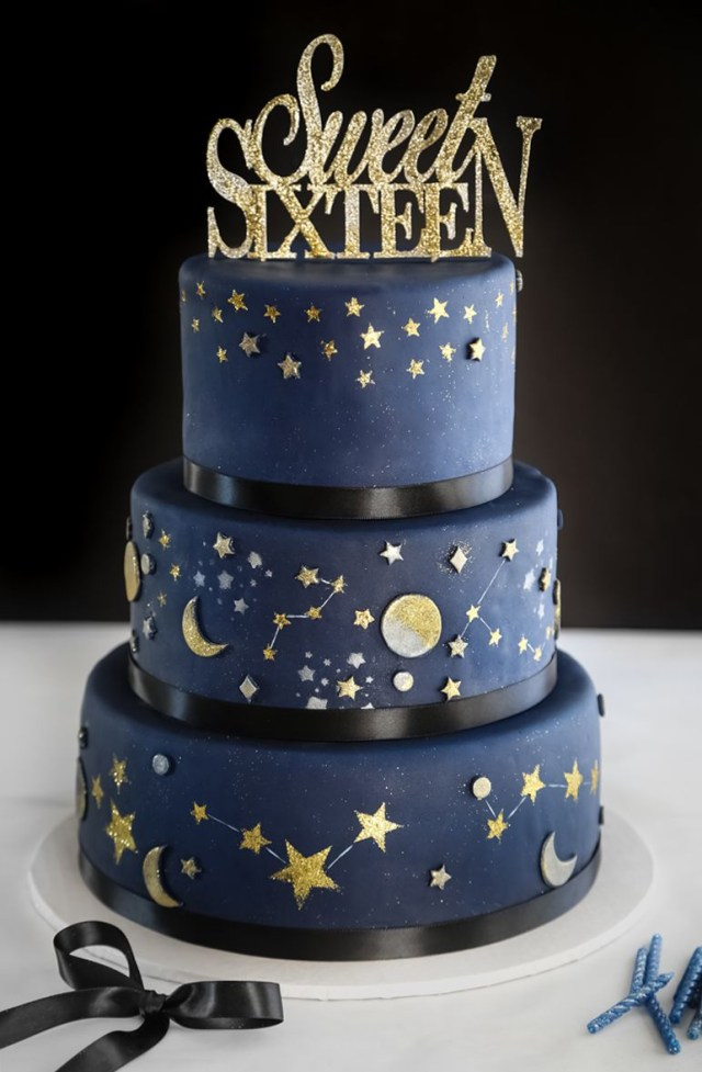 Sweet 16 Birthday Cakes Celestial Sweet Sixteen Cake In 2019 Sprinkle Baked Pinterest