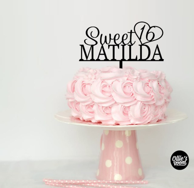 Sweet 16 Birthday Cakes Personalised Sweet 16 Birthday Cake Topper Australian Made Birthday