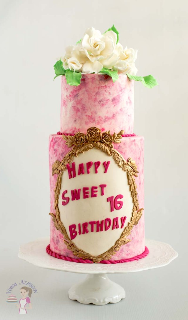 Sweet 16 Birthday Cakes Pink Sweet Sixteen Birthday Cake With Sugar Gardenias Veena Azmanov