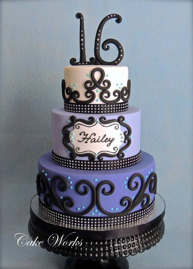 Sweet 16 Birthday Cakes Sweet 16 Bling 16th Birthday Cake In Fondant The Birthday Girl