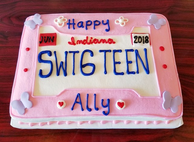 Sweet 16 Birthday Cakes Sweet 16 License Plate Sheet Cake Adrienne Co Bakery Sweet 16