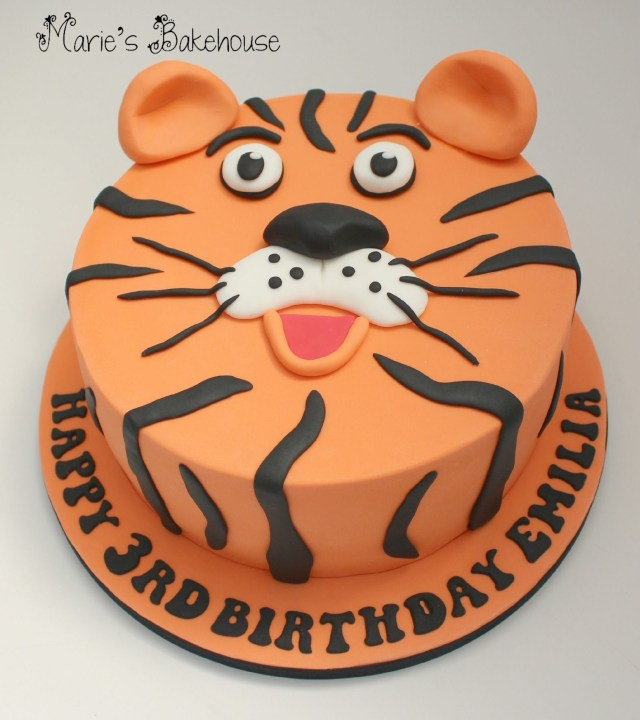 Tiger Birthday Cake Tiger Face Cake For Childrens Birthday Wwwmariesbakehousecouk