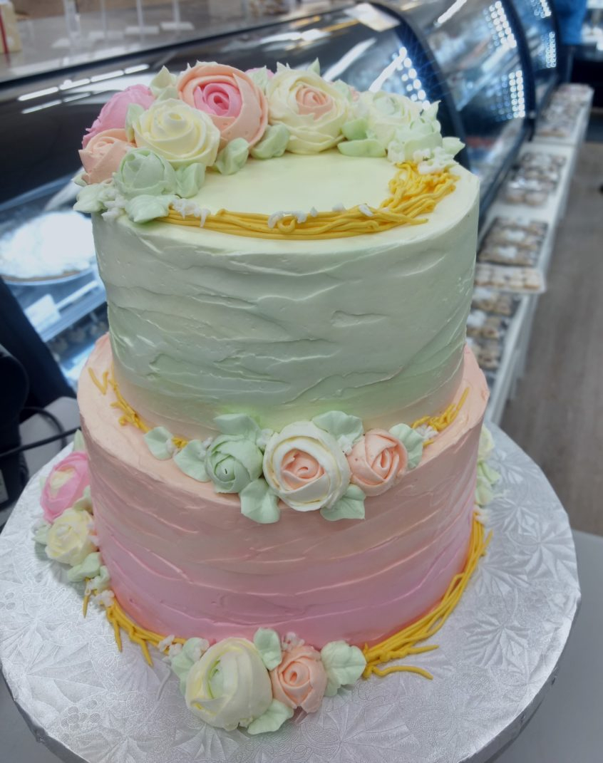 Two Tier Birthday Cake Pastel Rose Goodies Winnipeg Bakery