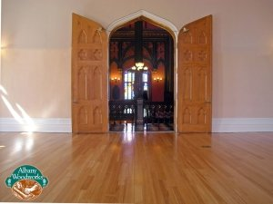 Historic renovation- reclaimed antique heart pine flooring.