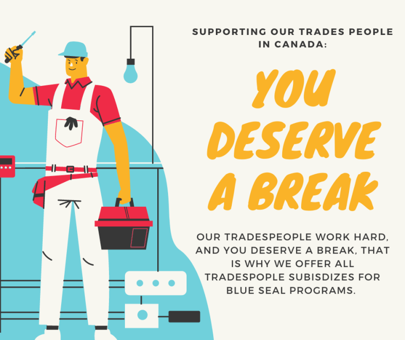 Supporting trades people, we offer tradespeople subsidies for blue seal programs