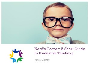 Nerd's Corner_Evaluative Thinking on the MentoringMinute Podcast