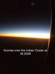 Sunrise over the Indian Ocean at 36,000 feet
