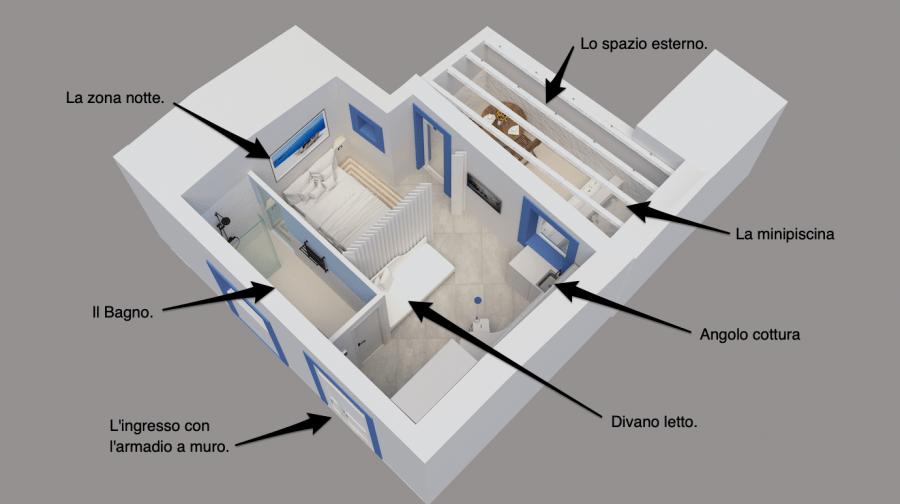 Il rendering dell'appartamento