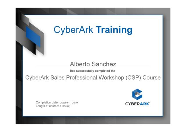 CyberArk Sales Professional Workshop (CSP) Course