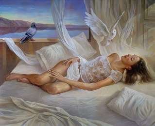 White dream. Oil on canvas 62×52 inches