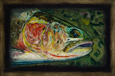 "Cutthroat Trout V,Lamar Valley, Yellowstone Park,6"" x 8.75""Oils on Plaster Panel"