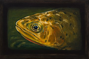 "Westslope Cutthroat Trout IV, West Fork of Bitterroot River, Montana 6"" x 8.75"" Oils on Plaster Panel"