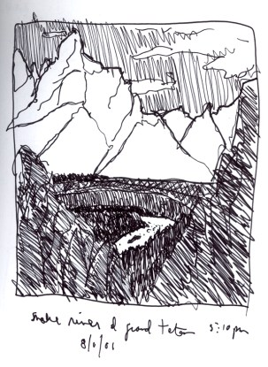 Sketchbooks S 14 - Snake River in Tetons - Yellowstone