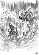 La creatura allungò un dito ungulato in direzione dello stregone e una voce che sembrava un sussurro potentissimo trasportato dal vento si fece udire.
