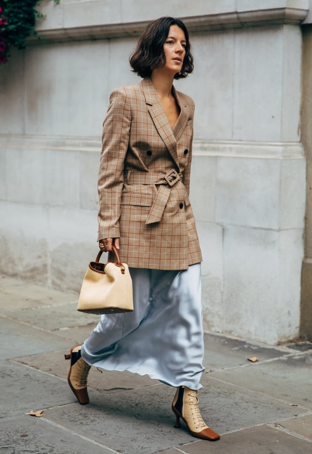 blazer and slip skirt