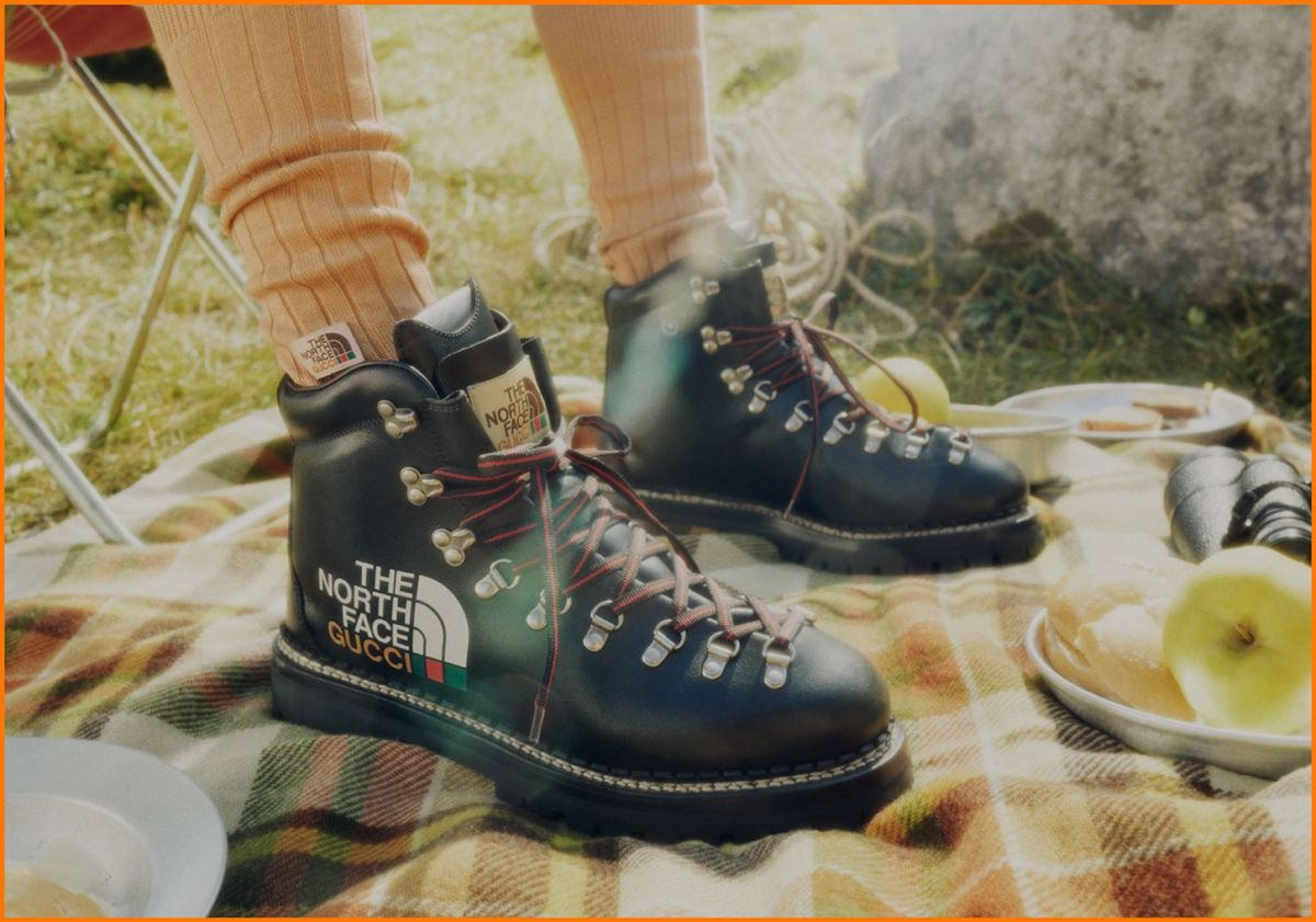 gucci x the north face collection collaboration hiking boots