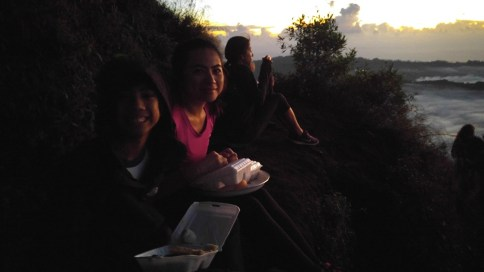 Our breakfast while watching the sunrise