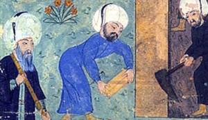 Një pikturë miniaturë nga Nakkas Osmani (1579) përshkruan një njeri me një staf (L), mendohet të jetë arkitekt i famshëm Mimar Sinan, përgatitur varrin e Sulltan Sulejmanit I të Madhërishëm. (Foto nga Wikimedia Commons)