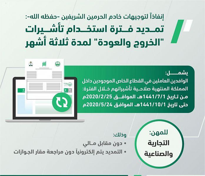 تمديد فترة استخدام تأشيرات الخروج والعودة دون مقابل صحيفة البلاد