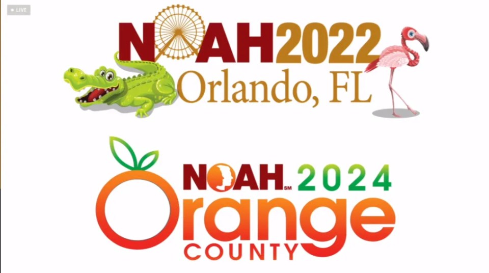 A graphic stating that NOAH Con 2022 will be held in Orlando, FL, and NOAH Con 2024 will be held in Orange County, CA.