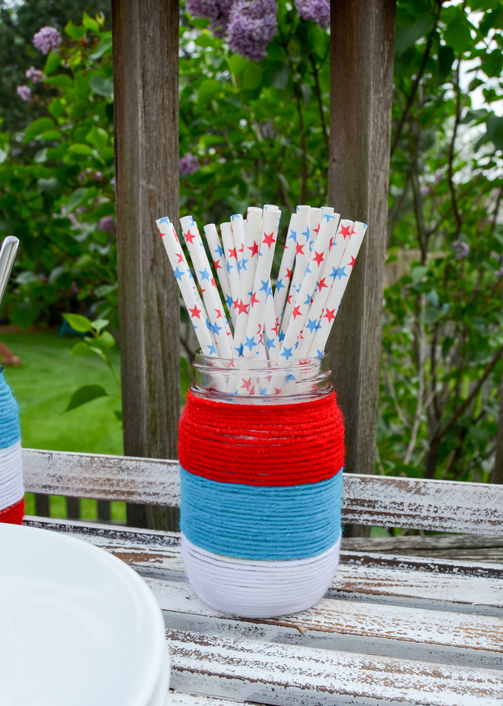Patriotic Yarn Wrapped Mason Jars