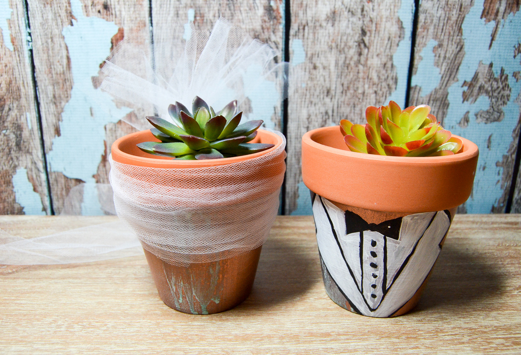 Bride and Groom Flowerpots