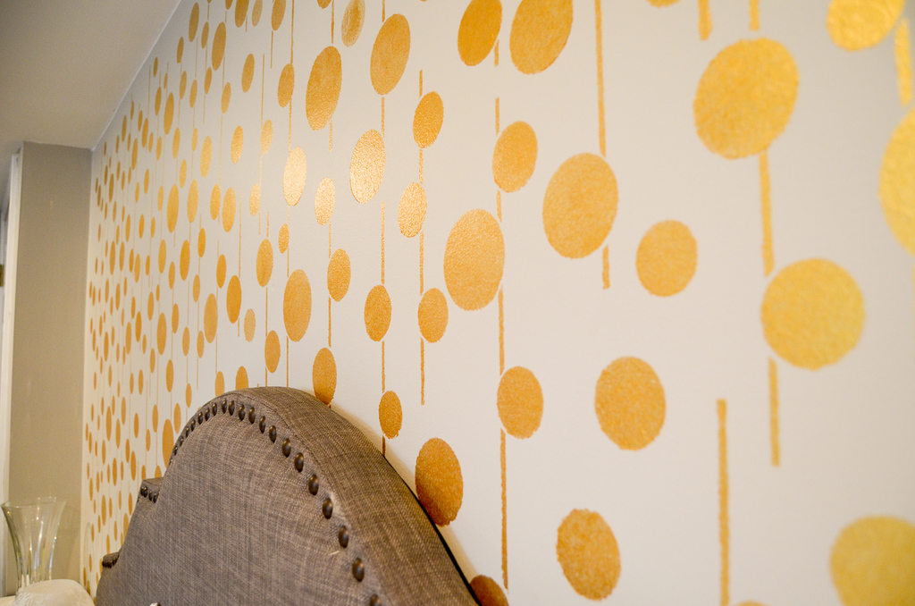 Golden Stenciled Bedroom Wall - Albion Gould