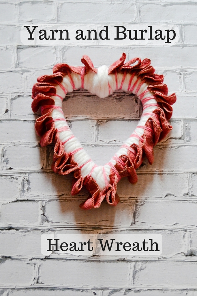 Yarn and Burlap Heart Wreath