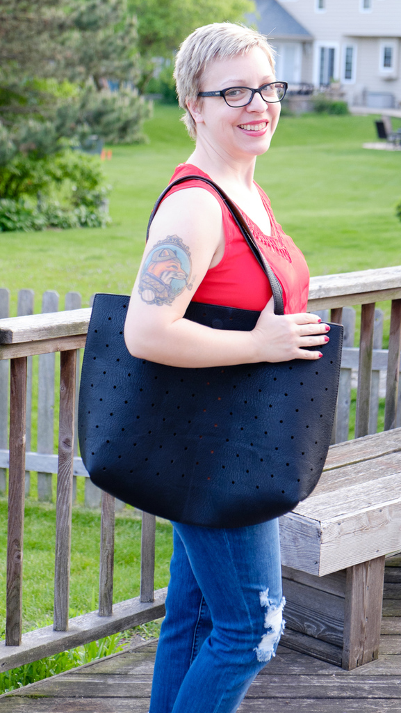Street Level Hanson Reversible Dot Tote
