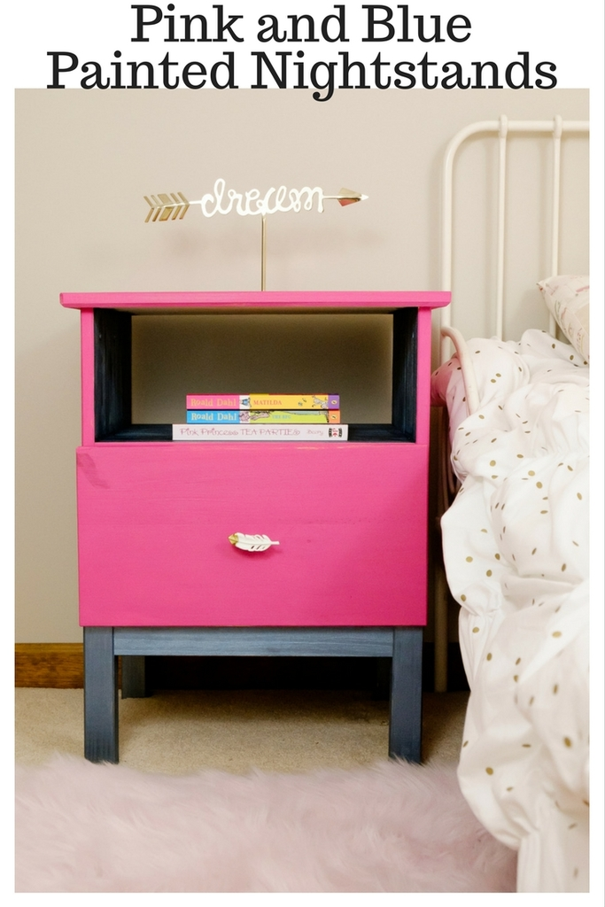 Pink and Blue Painted Nightstands