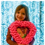 Pom Pom Wrapped Heart Wreath