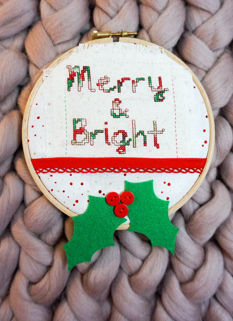 Merry & Bright Cross Stitch Hoop
