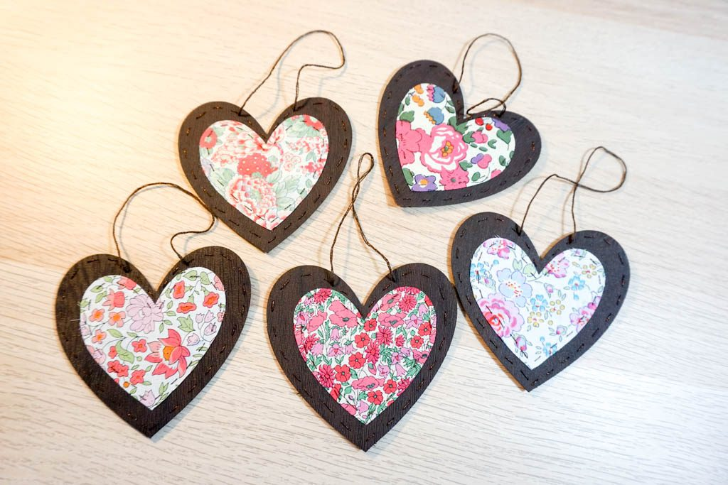 Faux Leather and Fabric Heart Ornaments